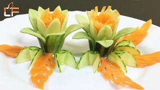 """Very nice and simple about """"How To Make Cucumber Flower Carving Garnish"""". Please help SUBSCRIBE Like and Share. Thanks for support.Cucumber Art Playlist: https://www.youtube.com/watch?v=xwRKXMweT0A&list=PLTZOlFP0vpMQg83wWOZErxkqt89jtq2wNLike our fanpage: https://www.facebook.com/lavyfruity/Follow Us On: https://plus.google.com/100862637936254270593Follow Us On: https://twitter.com/LavyFruity"""