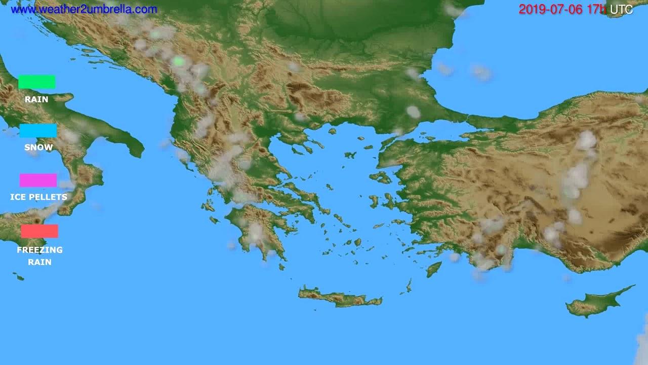 Precipitation forecast Greece // modelrun: 00h UTC 2019-07-05
