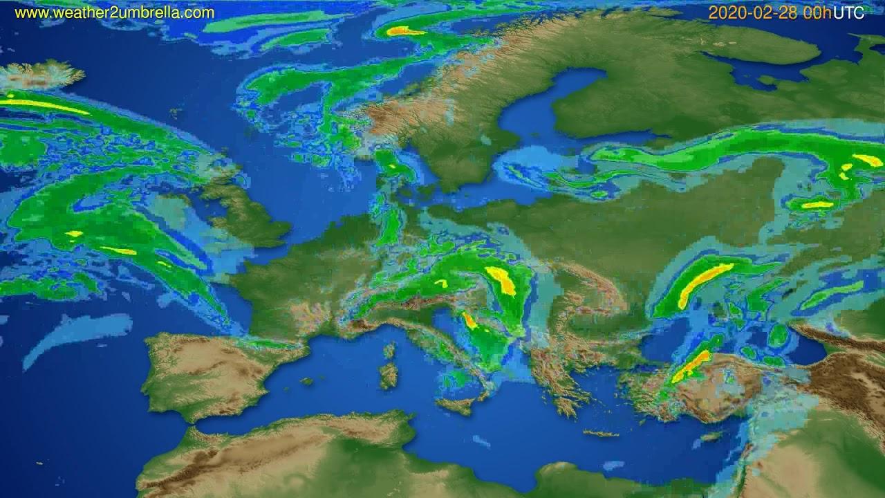 Radar forecast Europe // modelrun: 12h UTC 2020-02-27