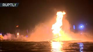 Флайбордисты устроили огненное шоу на Волге
