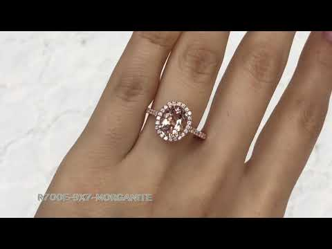 Halo Diamond Oval Morganite Ring in Rose Gold Pave Band