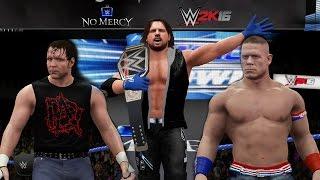 WWE CHAMPIONSHIP TRIPLE THREAT | AJ STYLES vs JOHN CENA vs DEAN AMBROSE | No Mercy Sim (WWE 2K16)