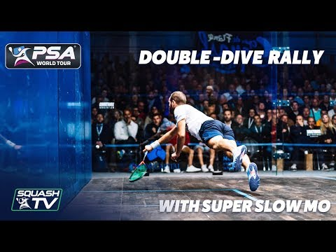 RIDICULOUS DOUBLE-DIVE SQUASH RALLY - With Super Slow Mo - Marche v Rösner