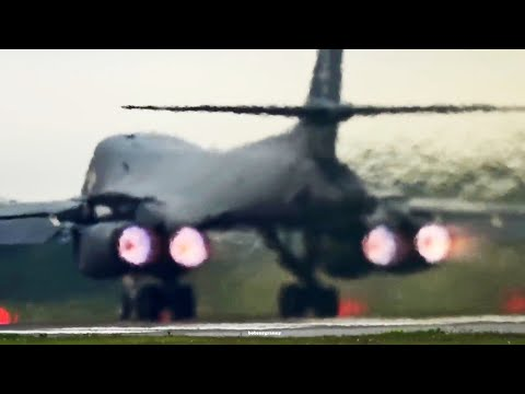 The mighty B-1 bomber taking off...