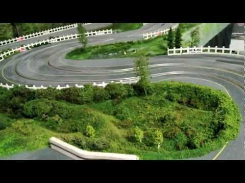 1/32 Wooden Routed Slot Car Track – 1960's theme – Scalextric C68 Aston Martin Marshal Test Drive