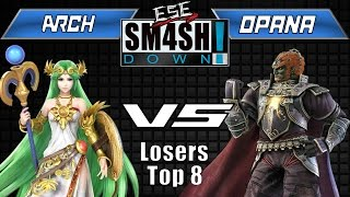 ESE SMASHDOWN  5: ESE Opana(Ganondorf) vs. Arch (Palutena) Losers Top 8. Impressive display of both of these underused characters potential!