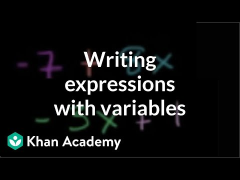 Writing Expressions With Variables Video Khan Academy