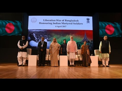 PM Modi & PM Sheikh Hasina at a programme to honour Indian soldiers martyred in the 1971 war