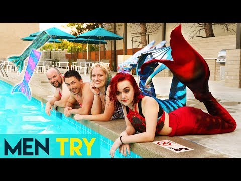 Men Try Being Mermaids For A Day - Fun Mermaid Tail!