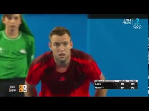 Sportsmanship at its absolute best - tennis player Jack Sock encourages his opponent Lleyton Hewitt to challenge a fault