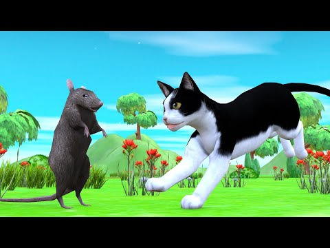 बिल्ली और चूहा Rat and Cat Hindi Kahaniya - Panchatantra Moral Stories - 3D Hindi Fairy Tales