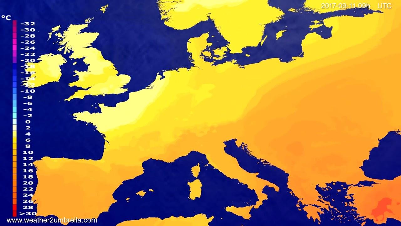 Temperature forecast Europe 2017-09-07