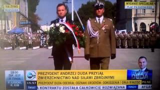 Andrzej Duda zaprzysiężenie, wpadka reportera ,cofnąć się do tyłu.