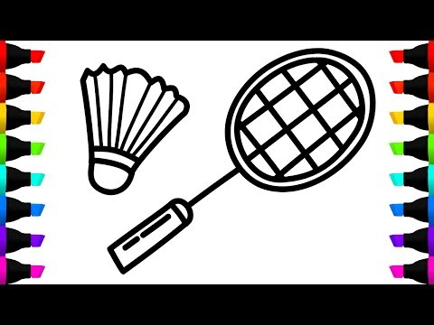 Badminton Coloring Book and Drawing - How to Draw Badminton Sport for Children With Colored Markers