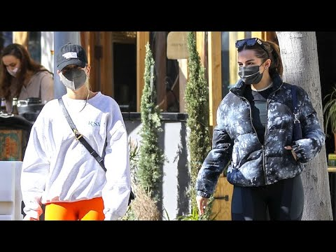 Hailey Baldwin And Gal Pal Addison Rae Grab Lunch After Morning Workout