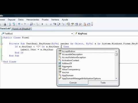 Video 2 de Visual Basic: Validar entradas de texto parte II