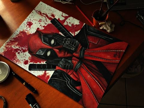 deadpool in speed drawing