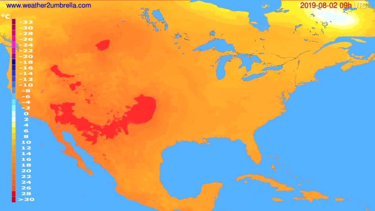 Temperature forecast USA & Canada // modelrun: 12h UTC 2019-07-31