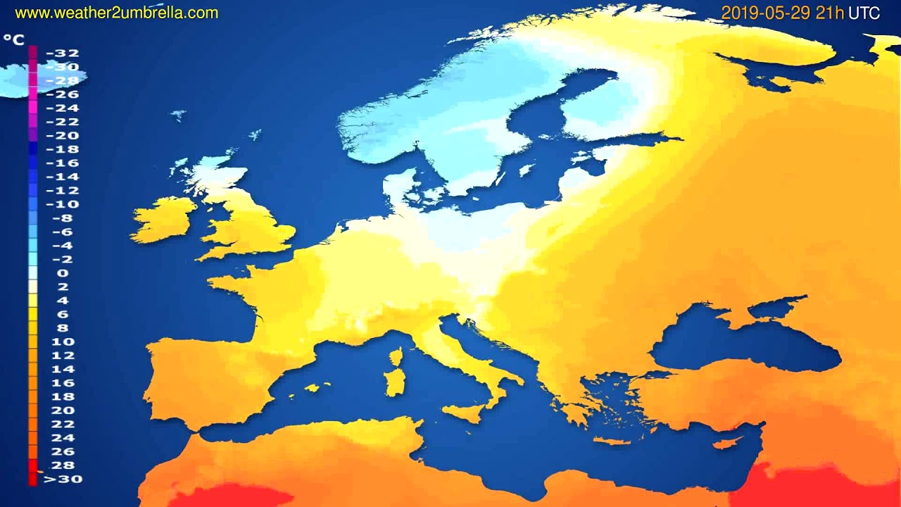 Temperature forecast Europe // modelrun: 00h UTC 2019-05-28
