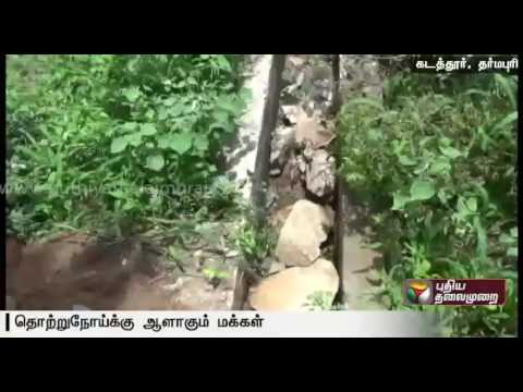 Sewage-stagnant-in-Dharmapuri-roads-due-to-unfinished-drainage-works