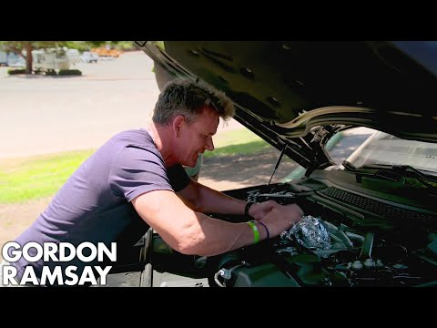 Gordon Ramsay Cooks Sea Bass On A Car Engine!