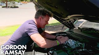 Video Gordon Ramsay Cooks Sea Bass On A Car Engine! MP3, 3GP, MP4, WEBM, AVI, FLV November 2018