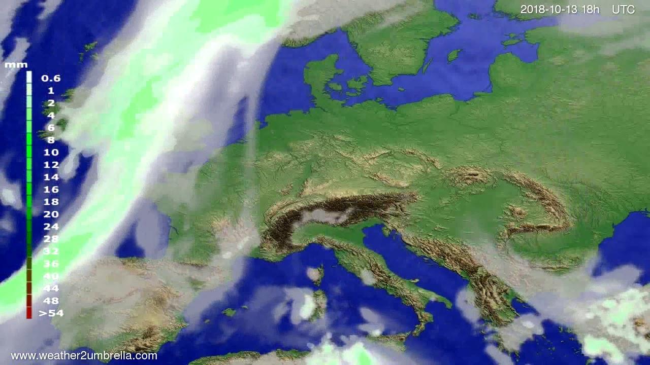 Precipitation forecast Europe 2018-10-10