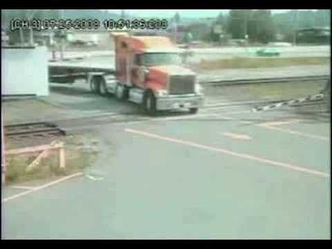 Semi Truck Tries To Outrun Train