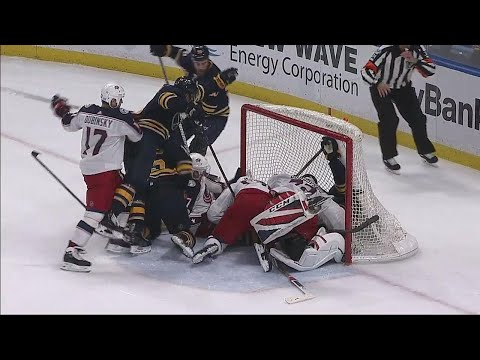 Video: Sabres pile on top of Bobrovsky & puck so referees say no goal