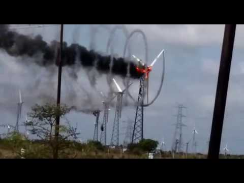 Wind Turbine Catches Fire Makes Beautiful Smoke