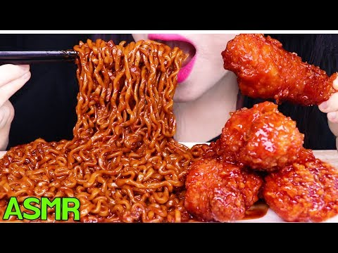 ASMR BLACK BEAN NOODLES + FRIED CHICKEN 시크릿 양념치킨 짜장 불닭볶음면 먹방 (EATING SOUNDS) NO TALKING MUKBANG