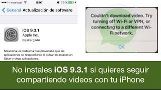 Apple ha lanzado una actualización en la últimas horas de su sistema operativo iOS, concretamente iOS 9.3.1 para solucionar el problema de los enlaces, que recordemos fallaba en la actualización 9.3, pues bien, ahora parece ser que tras actualizar a esta nueva versión, ha aparecido un nuevo problema, y es que cuándo se comparten videos entre iPhone no se pueden recibir, o sea que sale un mensaje diciendo que no se puede descargar el video, que se pruebe a través de wifi o VPN. La verdad es que Apple no está muy fino últimamente. y son varios los problemas que están ocurriendo últimamente.¿Te ha pasado este problema de que no puedes recibir videos desde un iPhone actualizado a iOS 9.3.1?