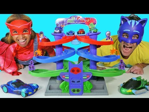 PJ Masks Spiral Playset Race and Toy Challenge! || Disney Toy Review || Konas2002