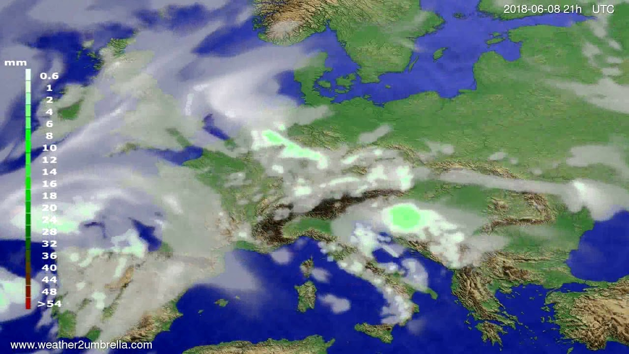 Precipitation forecast Europe 2018-06-05