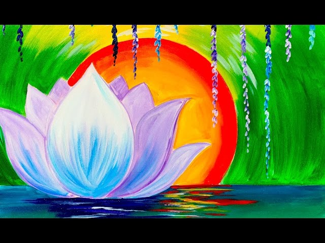 Zen lotus flower step by step for beginners acrylic for Painting flowers in acrylic step by step