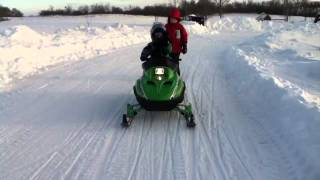 2. INSANE 3YR OLD ON SNOWMOBILE (Sno Pro 120)