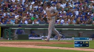 Luis Torrens takes ball four from Koji Uehara with the bases loaded to plate Wil Myers and give the Padres a 3-2 lead in the 8th ...