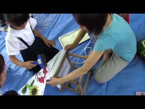 種子島の学校活動:油久小学校六月燈の灯籠親子で絵描き