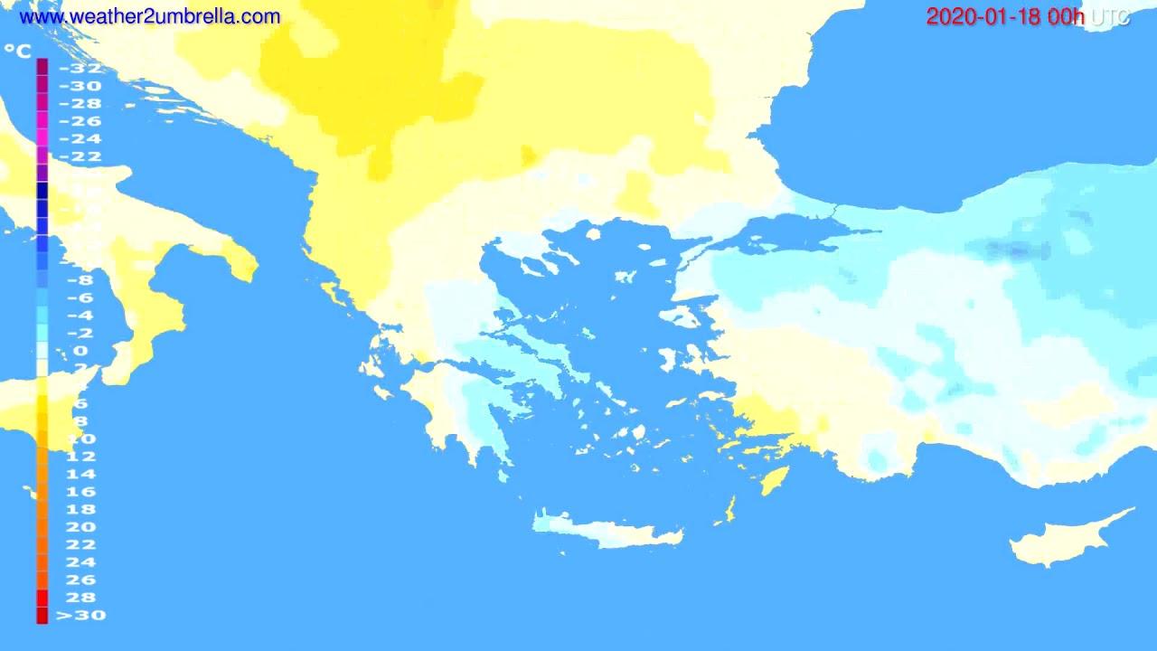 Temperature forecast Greece // modelrun: 00h UTC 2020-01-17