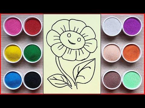 hướng dẫn tô mầu tranh cát hoa mặt trời