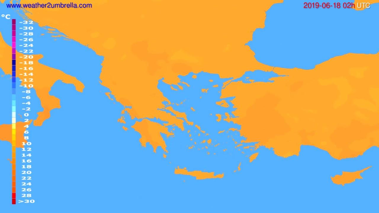 Temperature forecast Greece // modelrun: 12h UTC 2019-06-15