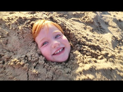PiRATE BEACH we buried ADLEY!! new lake surprises, making sand castles, and bedtime routine reviews!