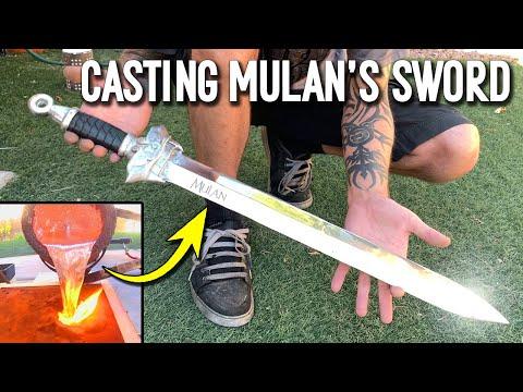 Casting Mulan's Sword From Scrap Aluminum Ingots - DIY Metal Sword Making