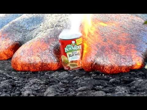 岩漿吞食鐵罐的可怕畫面!!