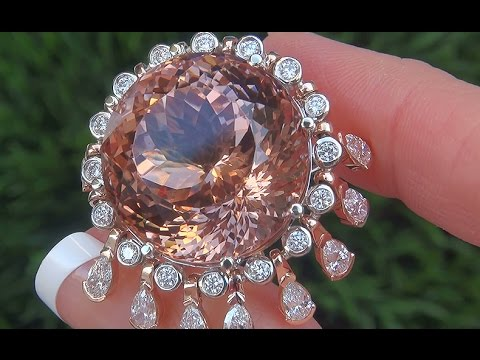 WORLD'S LARGEST GIA Certified UNHEATED Pink Morganite Diamond 14k Rose Gold Vintage Ring - A141550