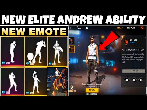 FREE FIRE ELITE ANDREW ABILITY    FREE FIRE OB27 NEW EMOTE   FREE FIRE NEW EMOTE AFTER UPDATE
