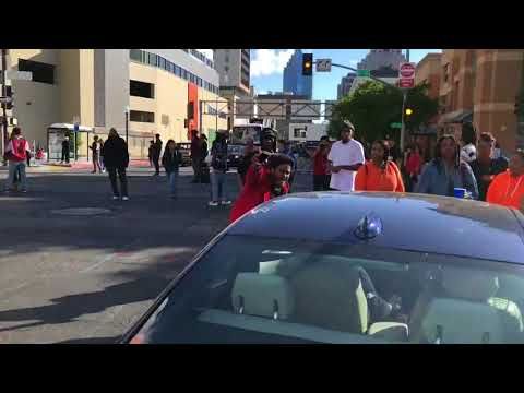 Terrorist Thugs In Crowd taunt driver  'I bet you want to run me over'