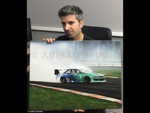 "Time-Lapse Video ""James Deane Drift Car"" Acrylic Painting"