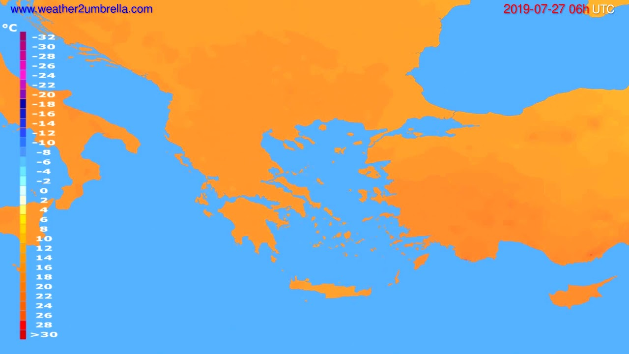 Temperature forecast Greece // modelrun: 12h UTC 2019-07-24