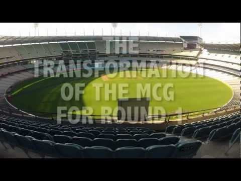 mcg - See this great timelapse video of the MCG's transformation from a cricket venue into AFL mode prior to its opening football match for 2013 on March 28.